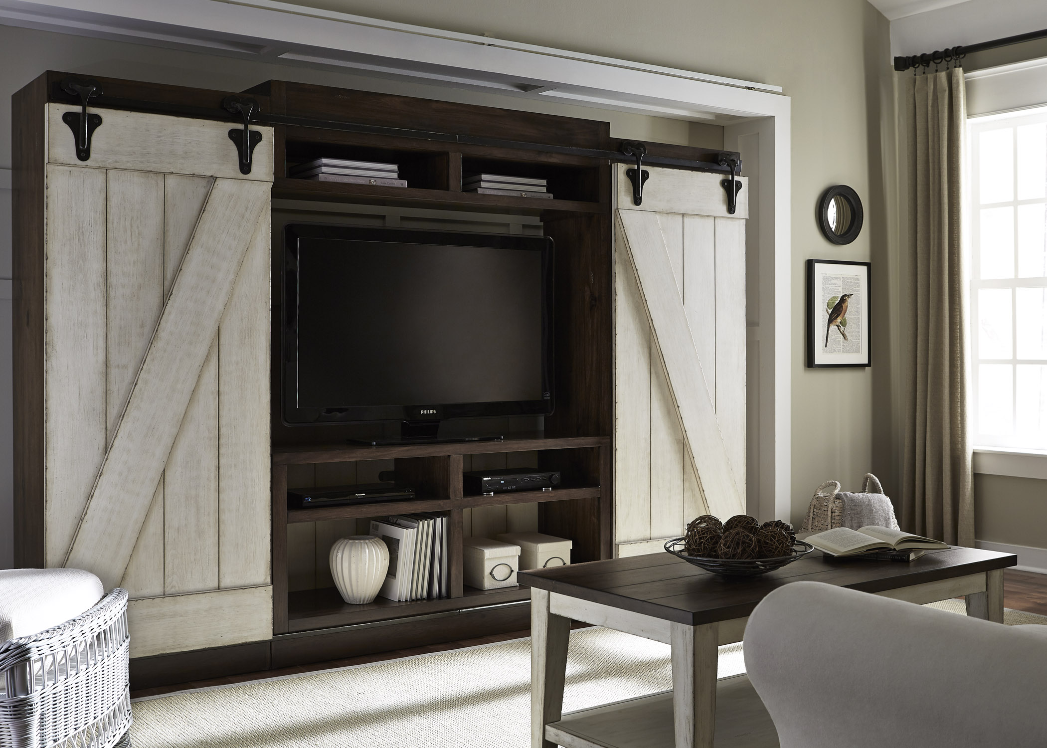 Lancaster Rustic Entertainment Center With Sliding Barn