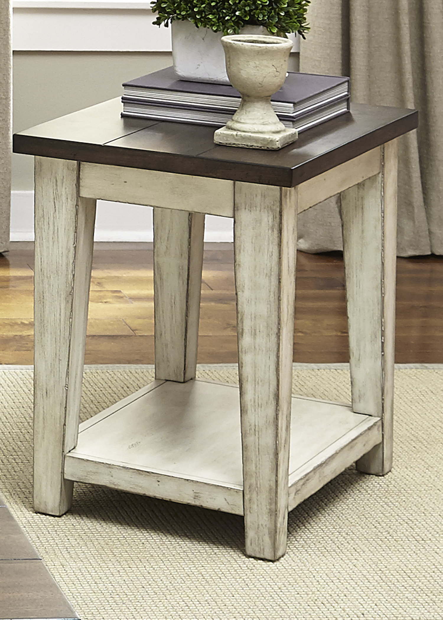Liberty Furniture Lancaster Rustic End Table with Light