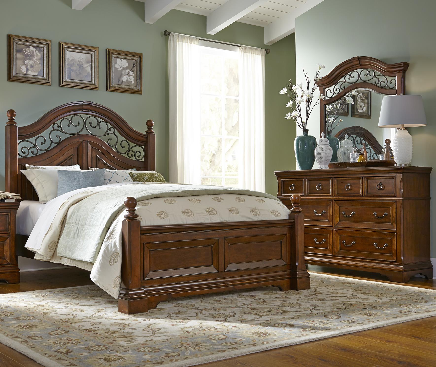 Liberty Furniture Laurelwood Queen Poster Bed, Dresser & Mirror - Item Number: 547-BR-GP24