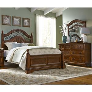 Vendor 5349 Laurelwood Queen Poster Bed, Dresser & Mirror