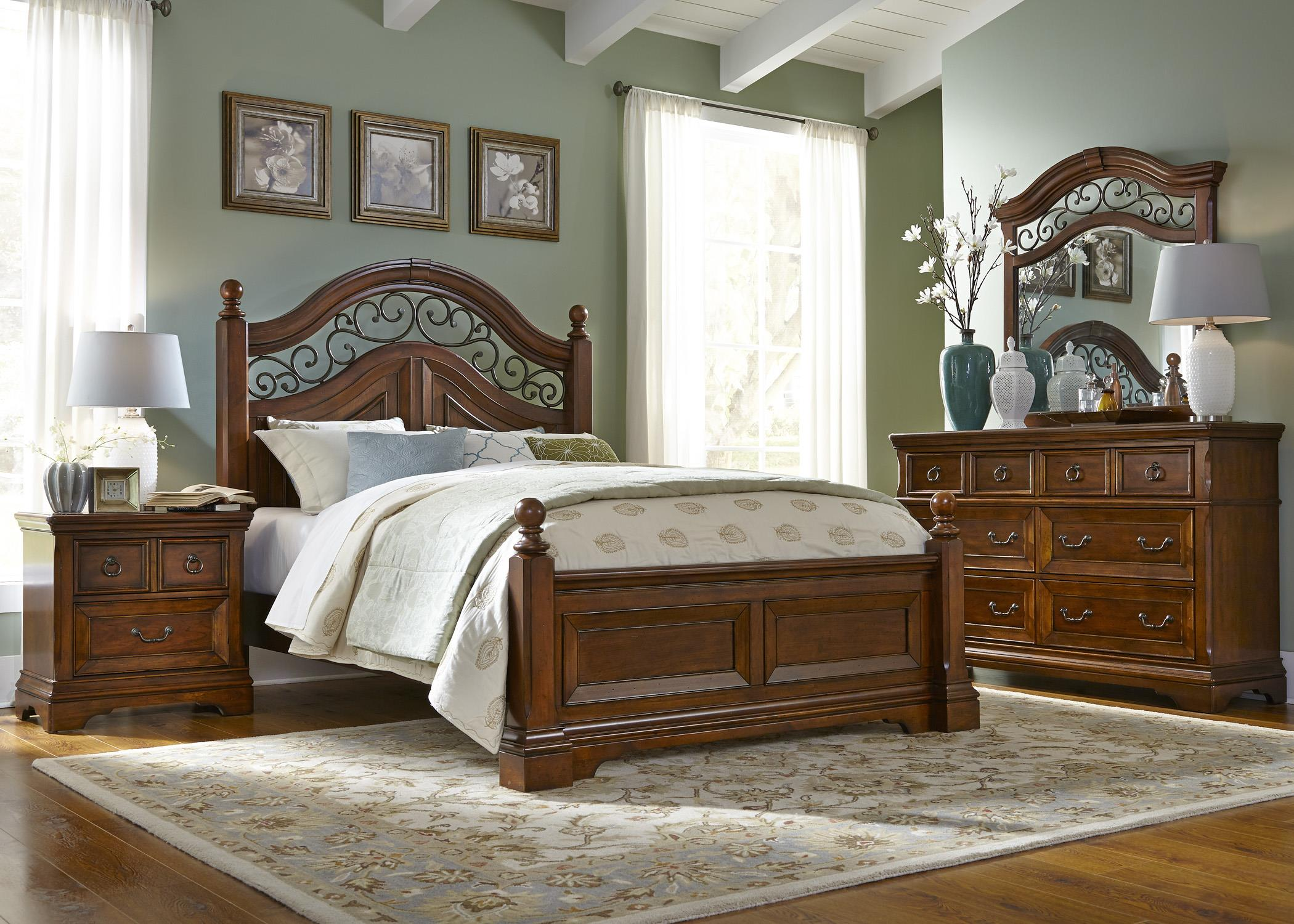 Liberty Furniture Laurelwood Queen Poster Bed, Dresser & Mirror, N/S - Item Number: 547-BR-GP27