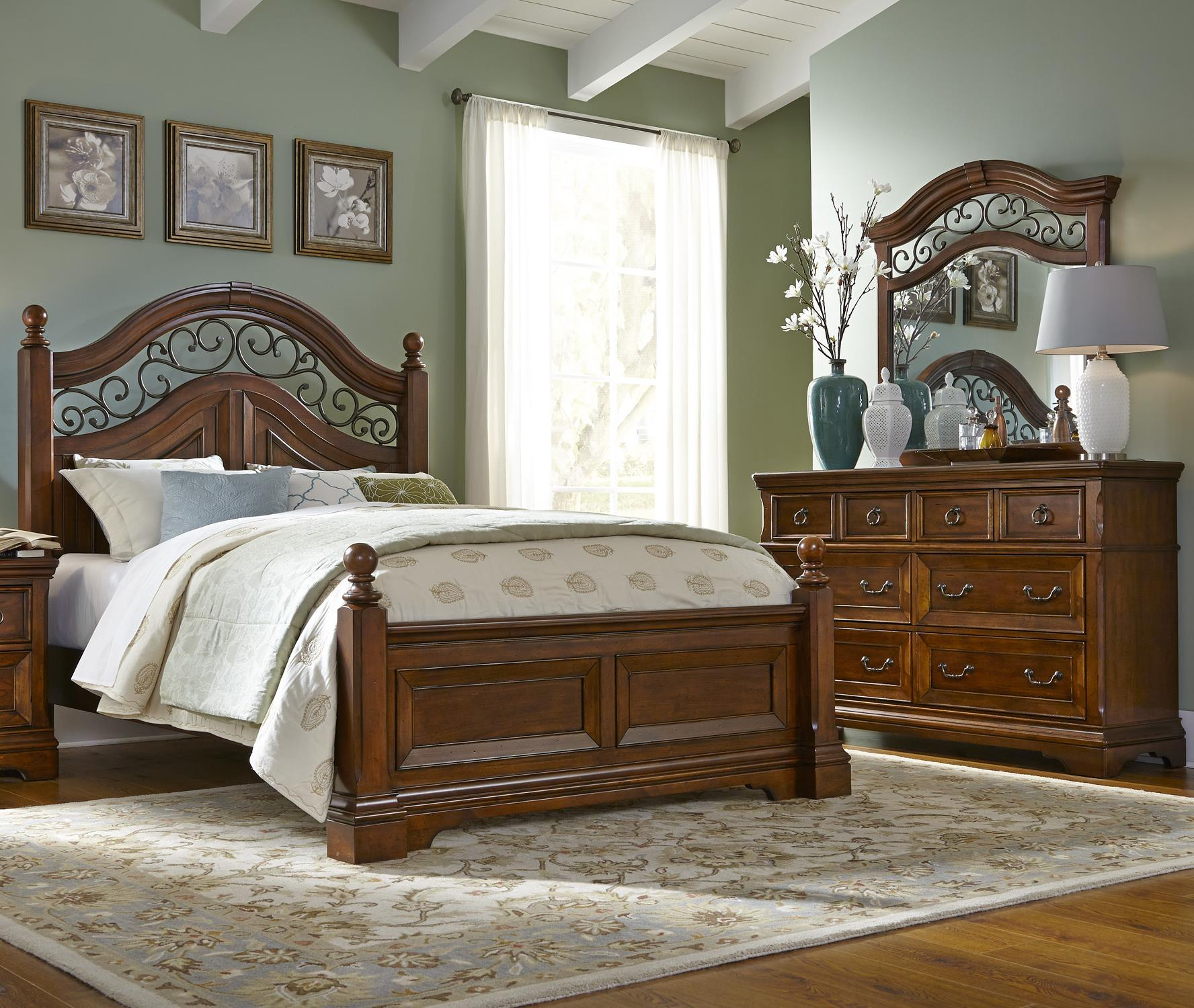 Liberty Furniture Laurelwood King Poster Bed, Dresser & Mirror - Item Number: 547-BR-GP67