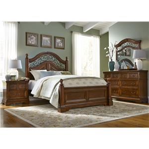 Liberty Furniture Laurelwood King Poster Bed, Dresser & Mirror, N/S