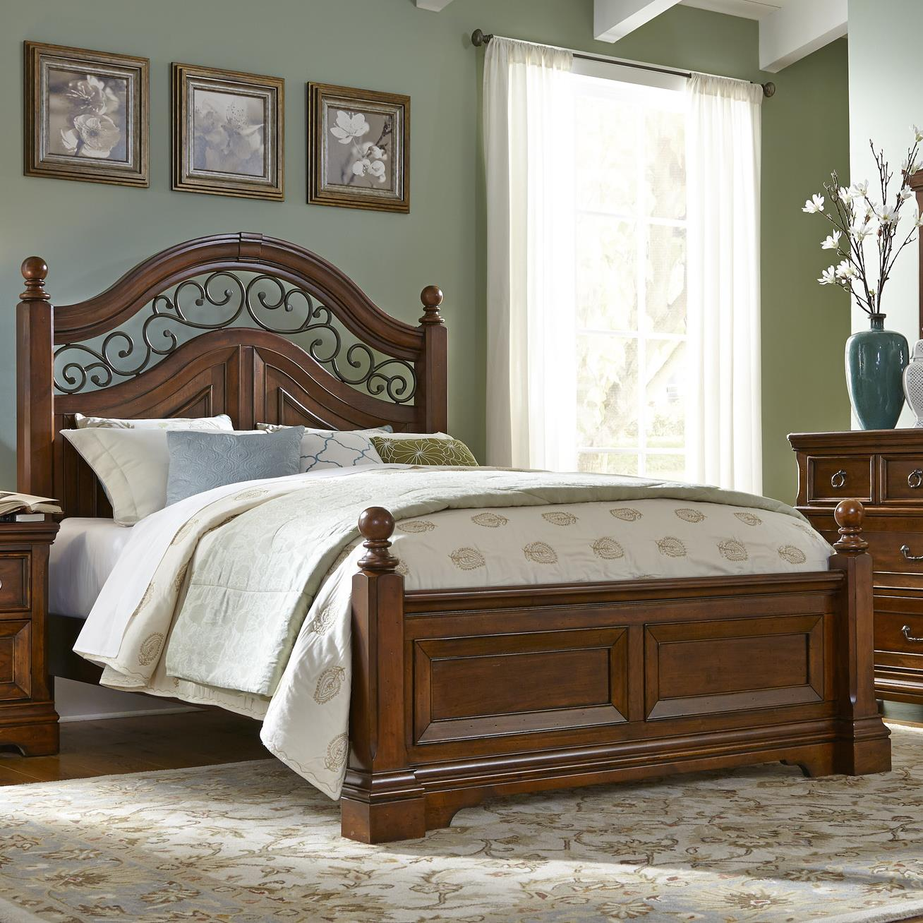 Liberty Furniture Laurelwood Queen Poster Bed - Item Number: 547-BR01+BR02+BR72