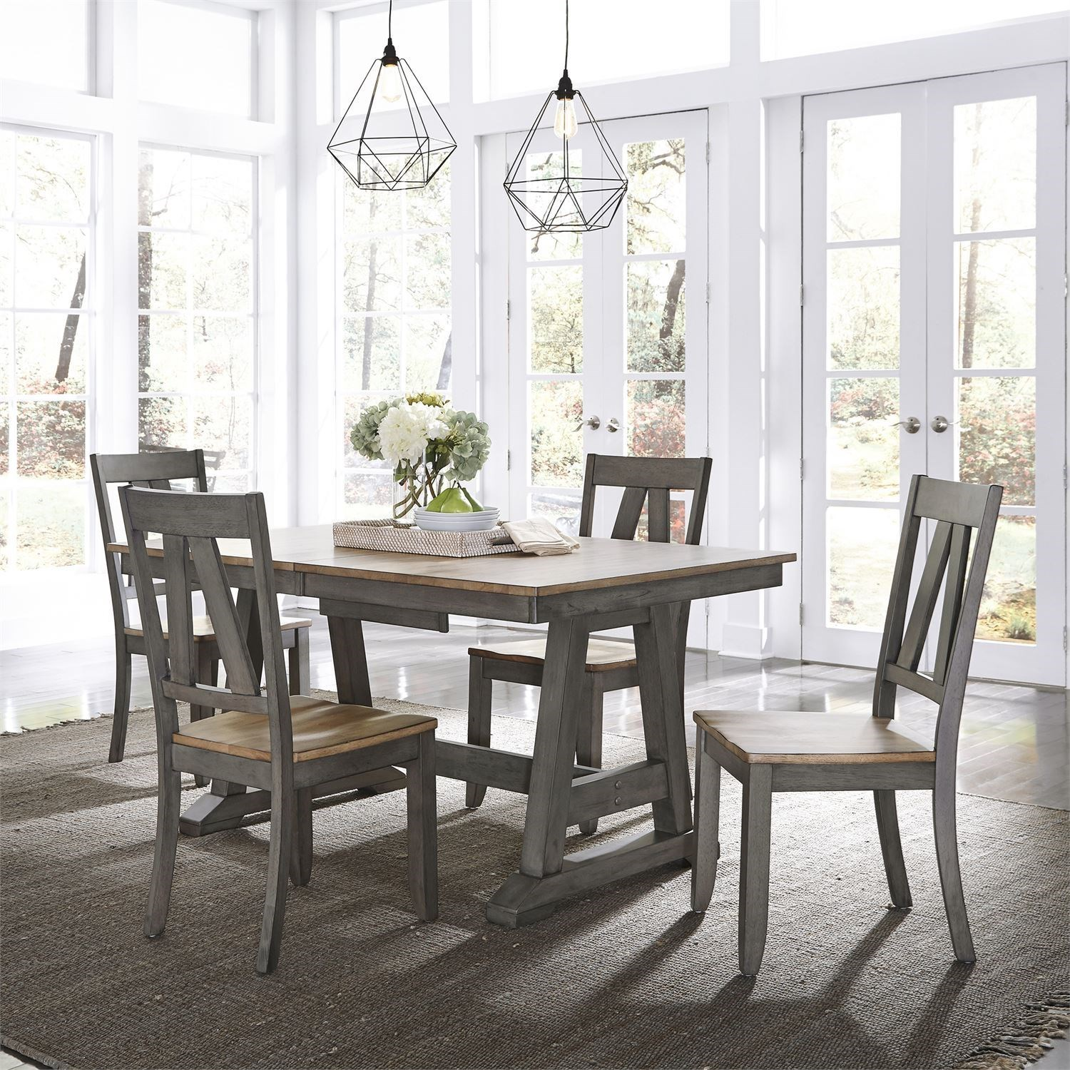 Lindsey Farm 5-Piece Trestle Table Set by Liberty Furniture at Johnny Janosik