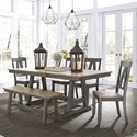 Liberty Furniture Lindsey Farm 6-Piece Trestle Table Set - Item Number: 62-CD-6TRS