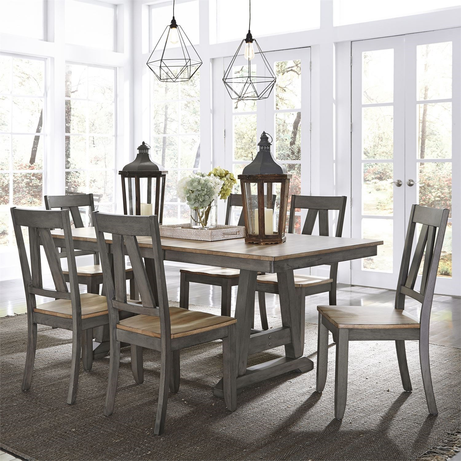 Lindsey Farm 7-Piece Trestle Table Set by Liberty Furniture at Johnny Janosik