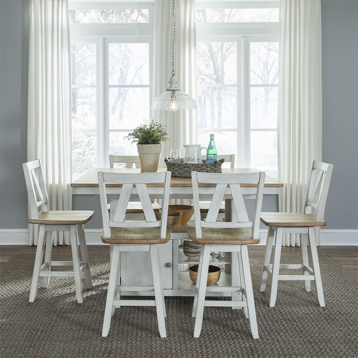 Lindsey Farm 7-Piece Gathering Table Set by Libby at Walker's Furniture