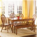 Liberty Furniture Low Country Rectangular Dining Table with Turned Legs - Rectangular Table Shown with Windsor Side Chair and Bench
