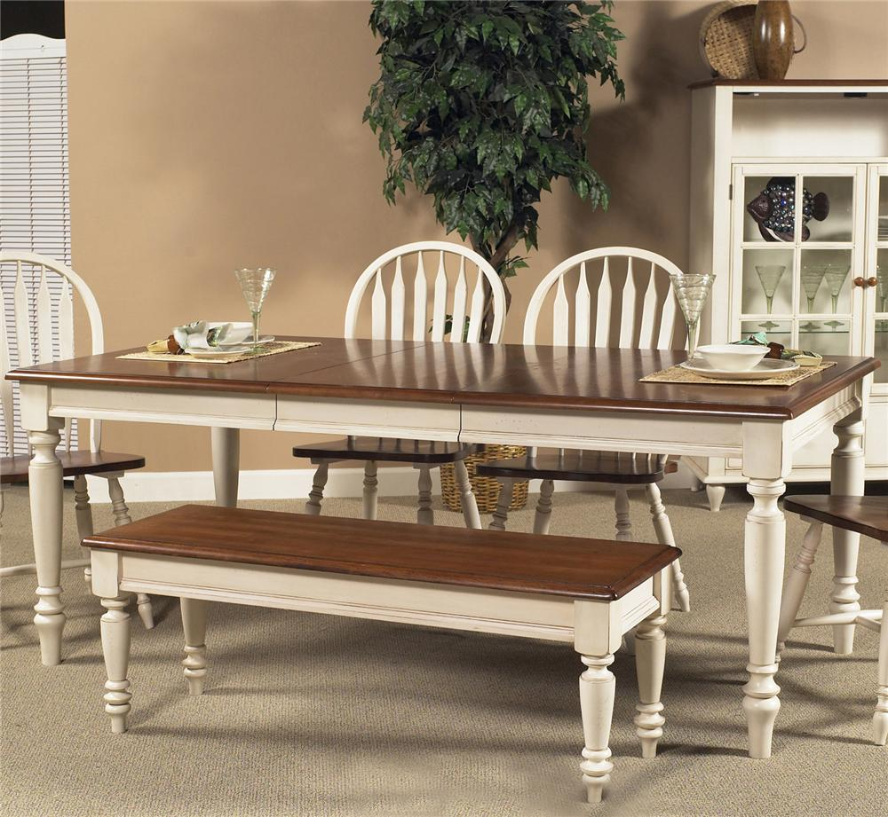 Country Dining Table With Bench: Low Country Rectangular Dining Table With Turned Legs