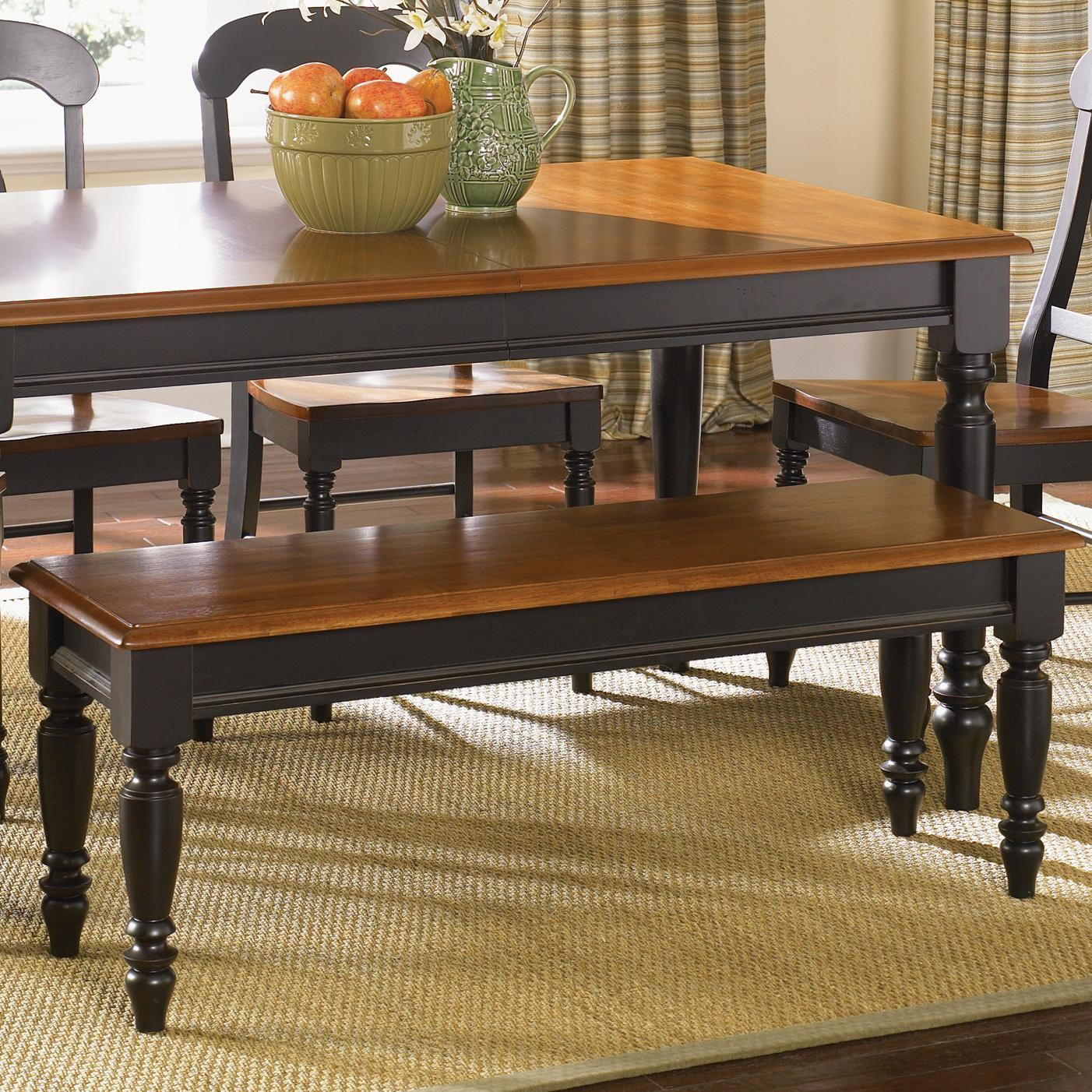 Country Dining Table With Bench: Low Country Bench With Turned Legs