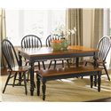 Liberty Furniture Low Country Bench with Turned Legs - Bench Shown in Room Setting with Windsor Chairs and Rectangular Table
