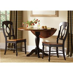 Liberty Furniture Low Country Black Drop Leaf Pedestal Table & 2 Side Chai