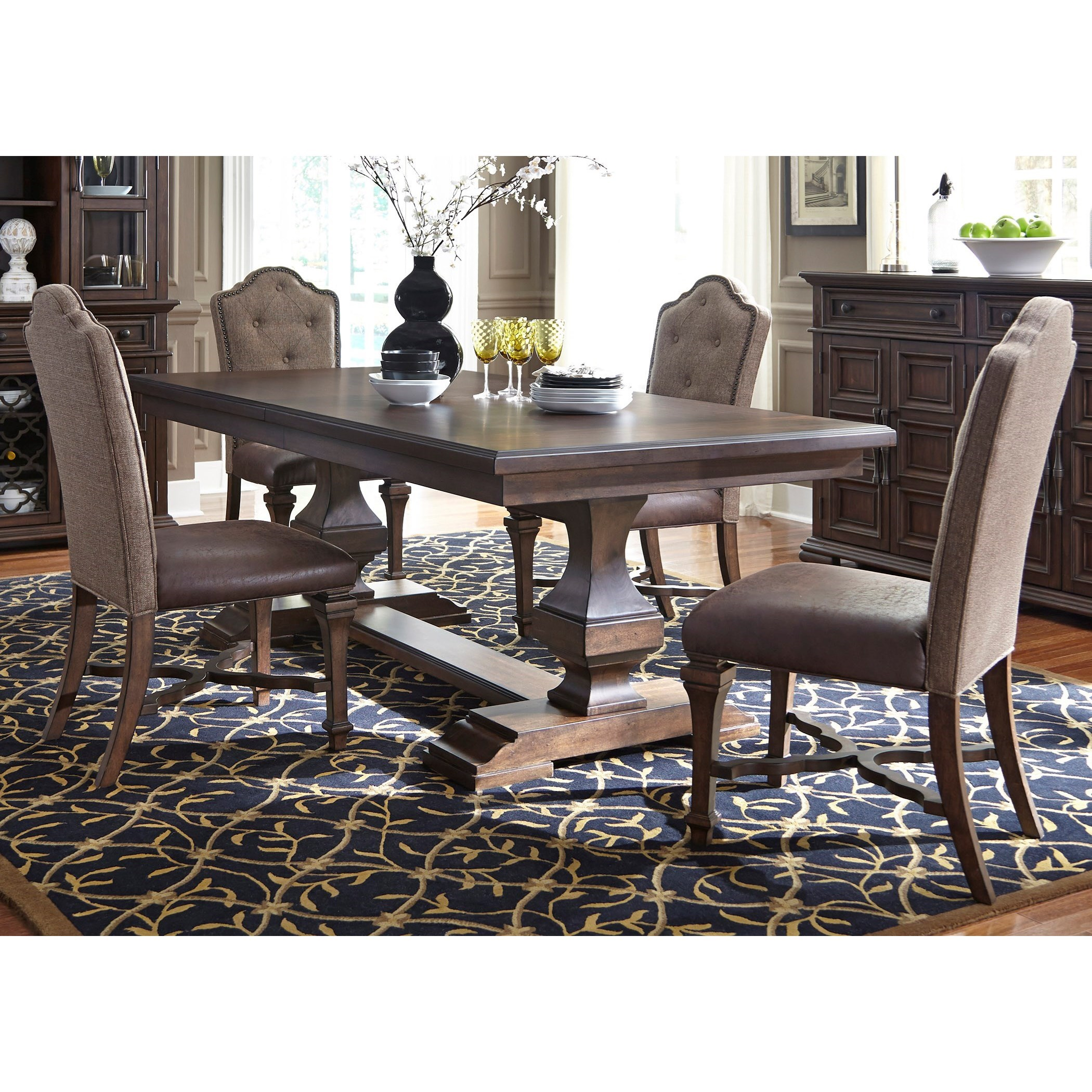 5 Chair Dining Set: Vendor 5349 Lucca 535-DR-52PS Formal 5 Piece Two Pedestal