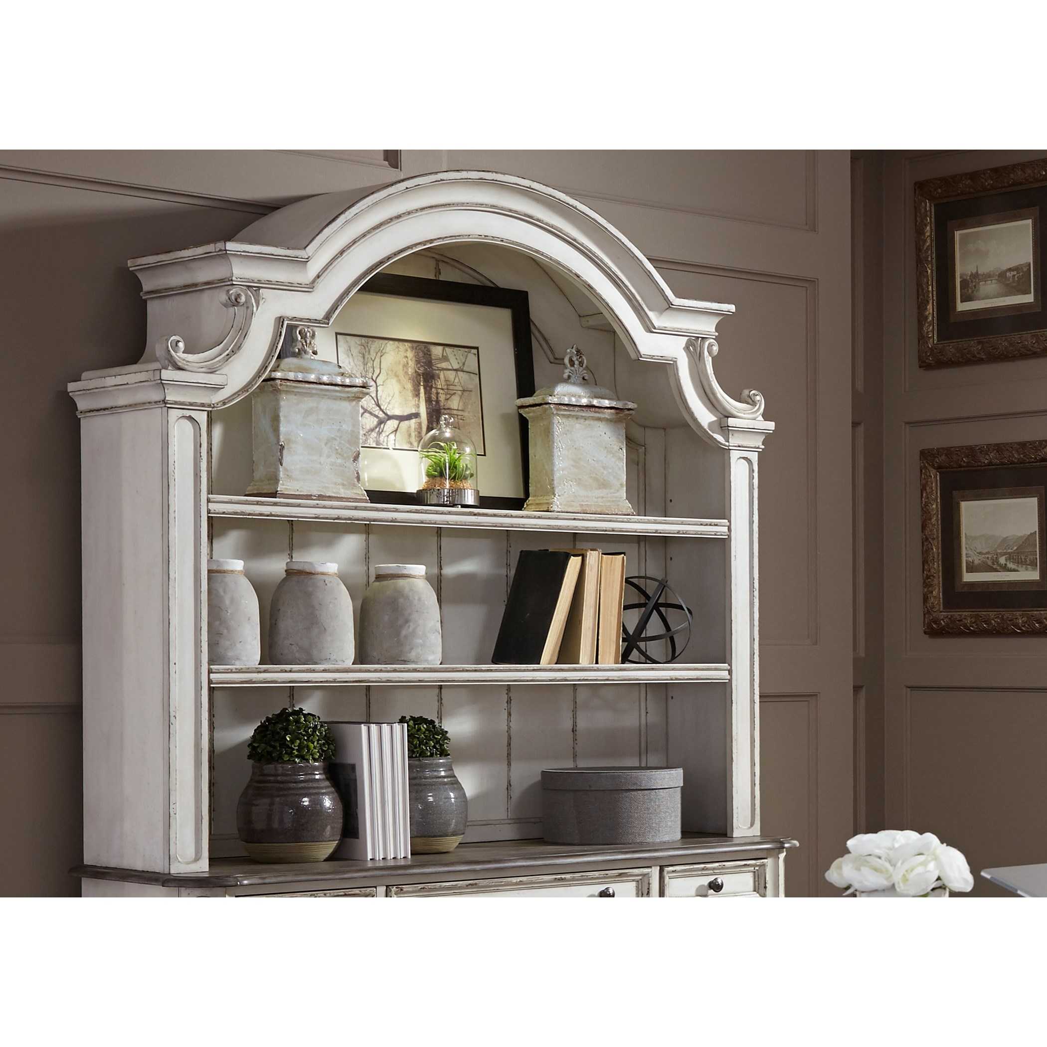 Beau Liberty Furniture Magnolia Manor Office Credenza Hutch With Touch Lighting