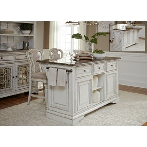 Liberty Furniture Magnolia Manor Dining Kitchen Island and Stool Set