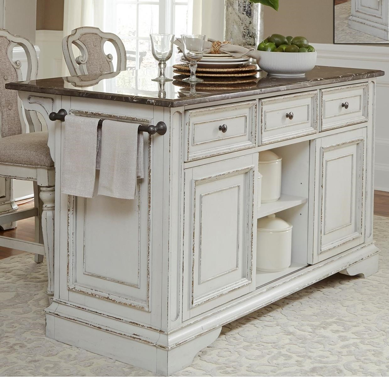 Kitchen Island Table Granite: Liberty Furniture Magnolia Manor Dining Kitchen Island With Granite Countertop
