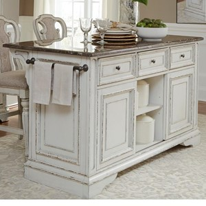 Liberty Furniture Magnolia Manor Dining Kitchen Island with Granite