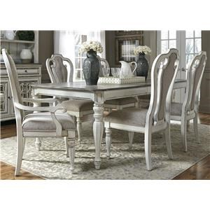 Liberty Furniture Magnolia Manor Dining 7 Piece Rectangular Table Set with Leaf