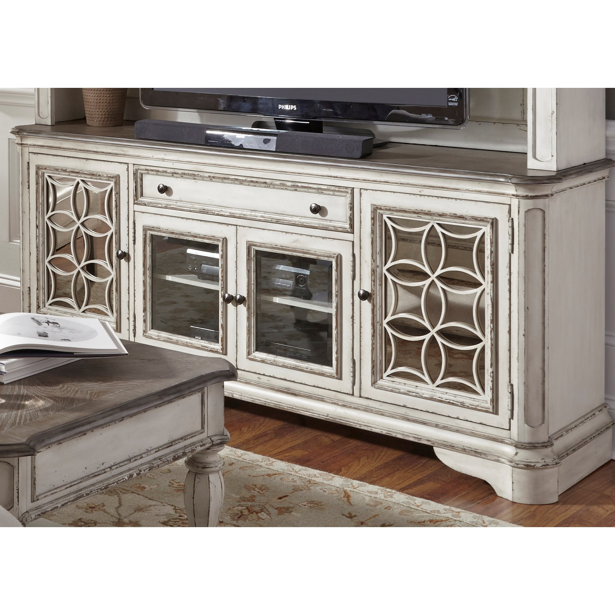 Liberty Furniture Magnolia Manor 244 Tv74 Entertainment Tv Stand With Glass Doors Great