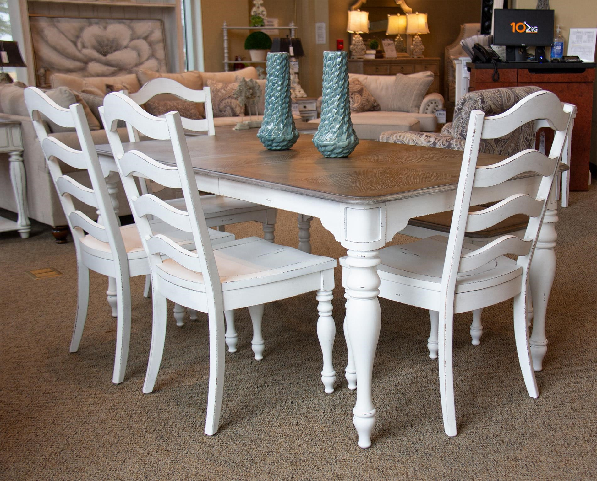 Rectangular Dining Table, 4 Chairs and Bench