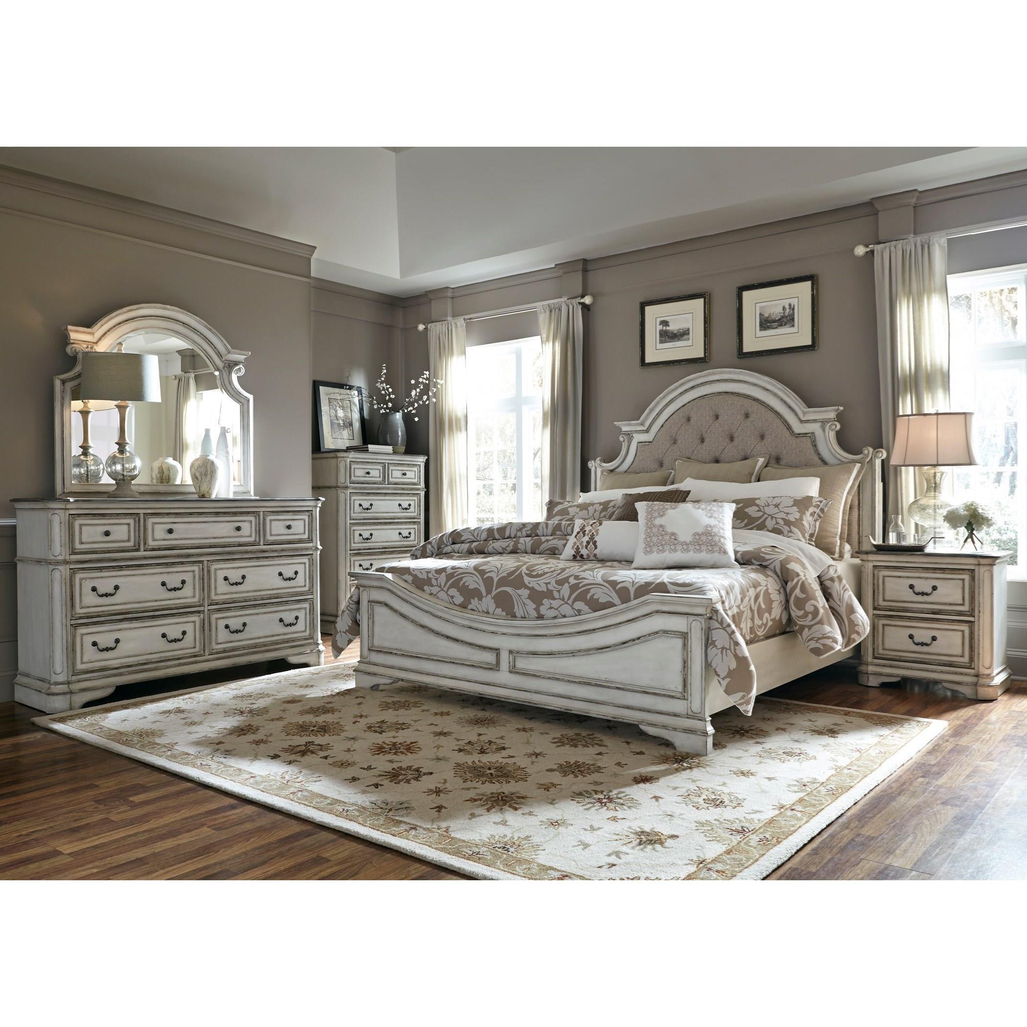 Queen Upholstered Bed, Dresser, Mirror & Nig