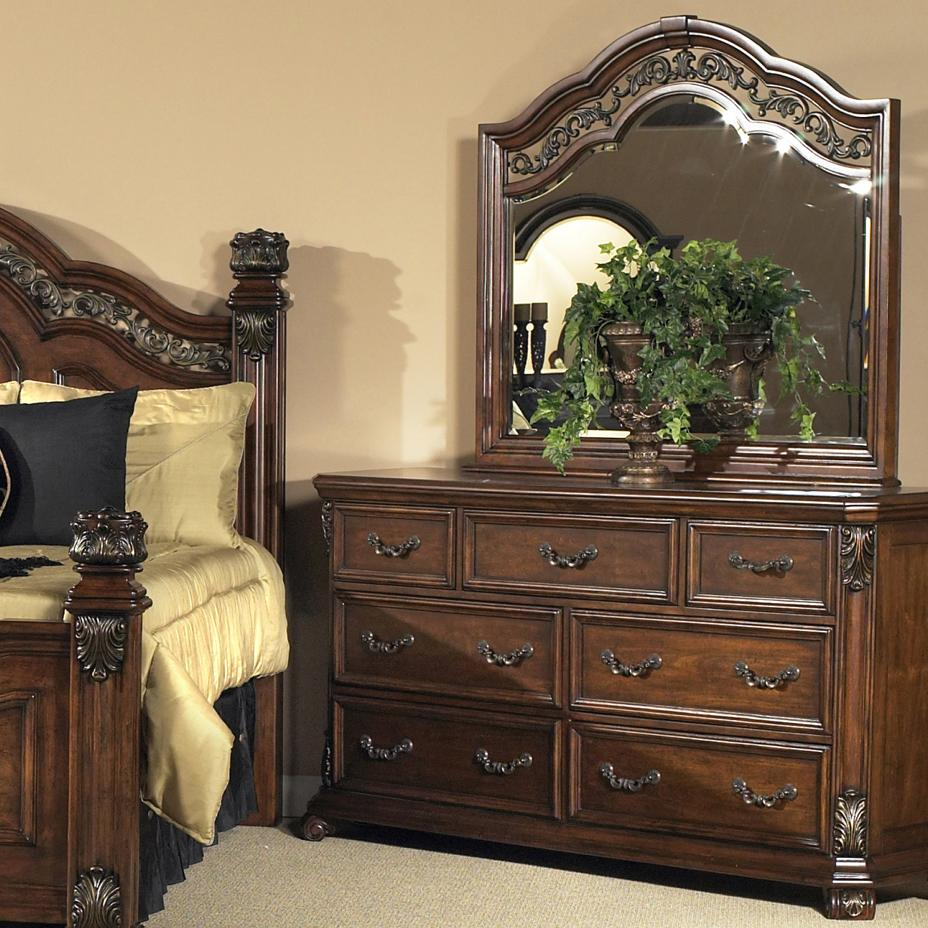 Liberty Furniture Messina Estates 7 Drawer Dresser with Mirror - Item Number: 737-BR31+BR51