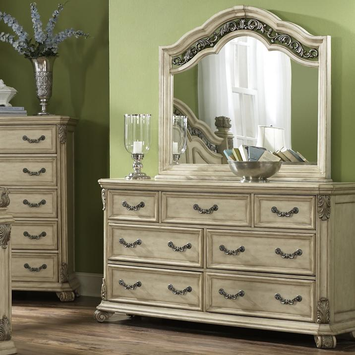 Liberty Furniture Messina Estates II 7 Drawer Dresser with Mirror - Item Number: 837-BR31+51