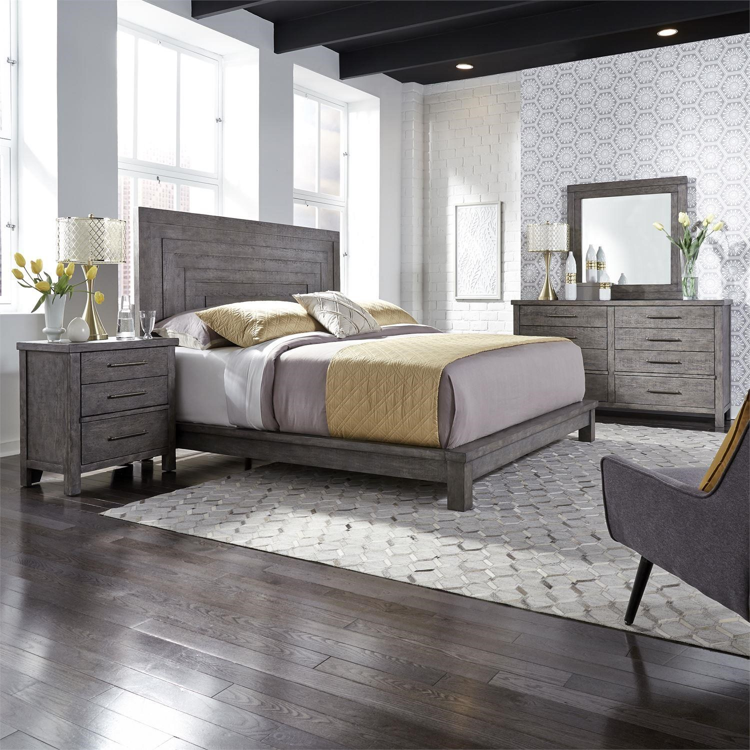 Picture of: Liberty Furniture Modern Farmhouse Contemporary King Platform Bed Darvin Furniture Platform Beds Low Profile Beds