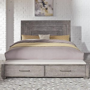 Contemporary Queen Storage Bed with 2 Footboard-Drawers