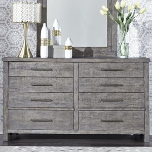 Contemporary 8-Drawer Dresser with Felt Lined Top Drawers
