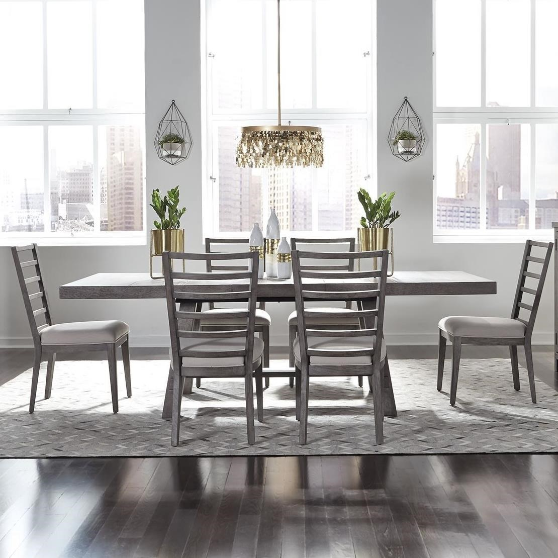 Modern Country Dining Room Table: Modern Farmhouse 7-Piece Trestle Table And Chair Set