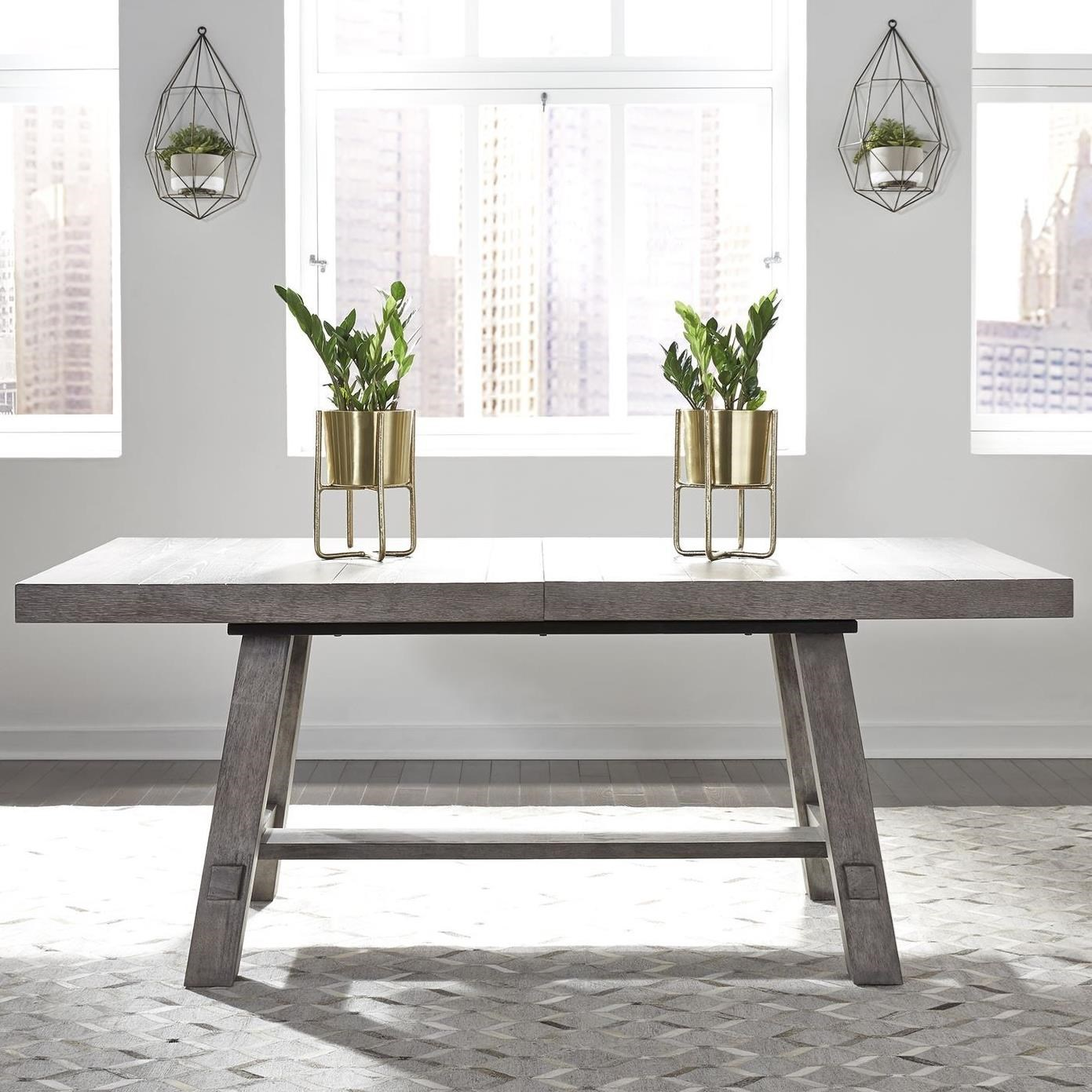 Liberty Furniture Modern Farmhouse 406 Dr Trs Contemporary Trestle Table With 20 Removable Leaf Corner Furniture Dining Tables