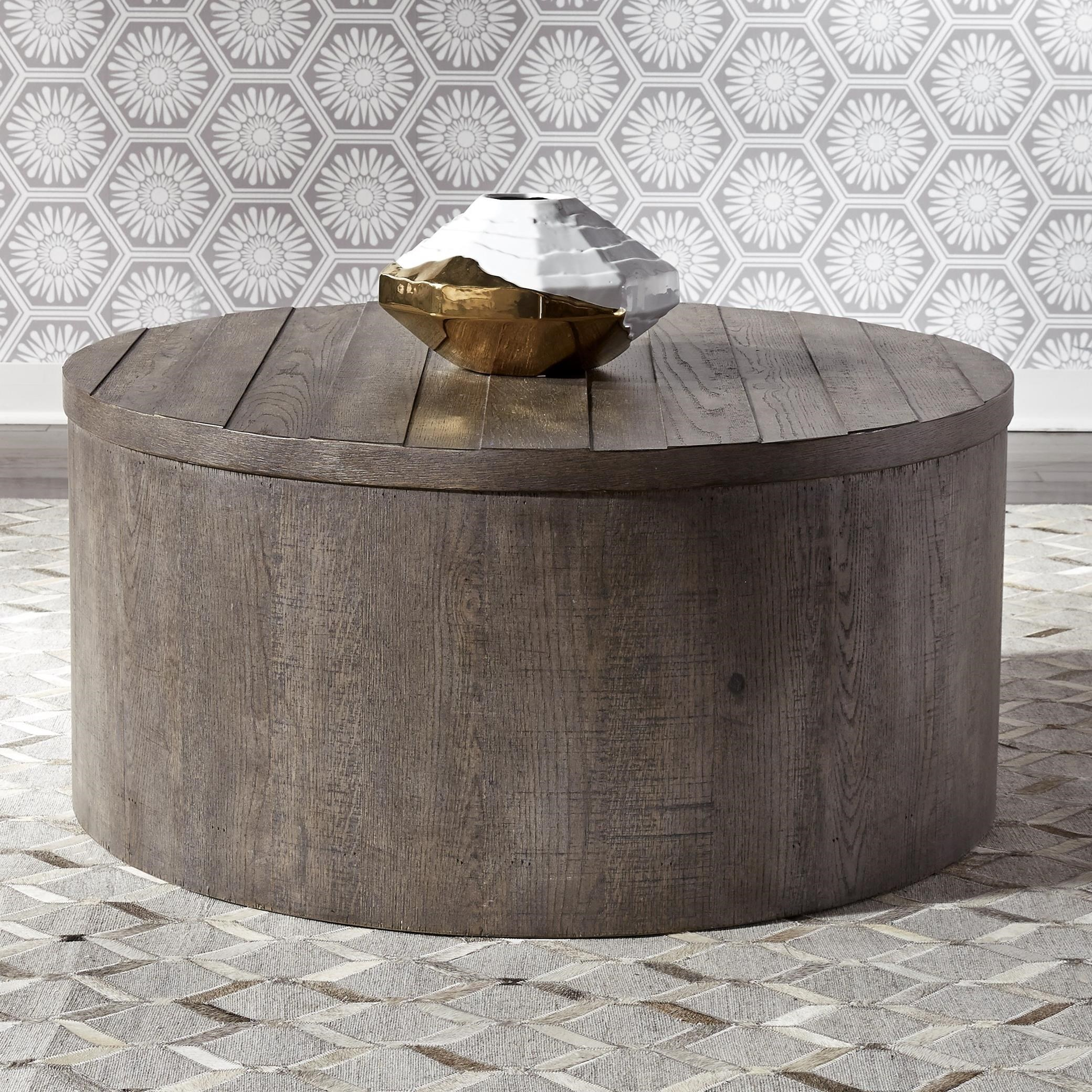 Liberty Furniture Modern Farmhouse Contemporary Round Drum Cocktail Table Royal Furniture Cocktail Coffee Tables