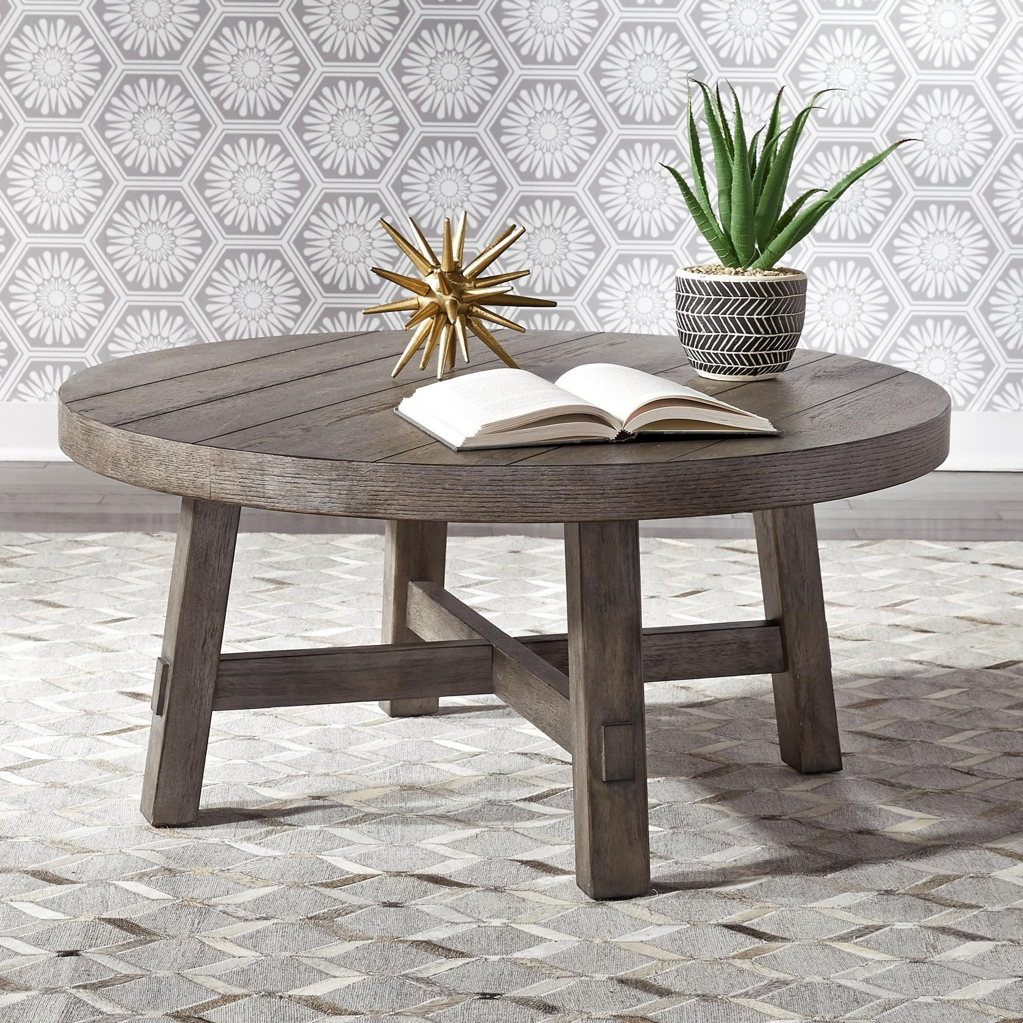 Liberty Furniture Modern Farmhouse Contemporary Splay Leg Round Cocktail Table Darvin Furniture Cocktail Coffee Tables