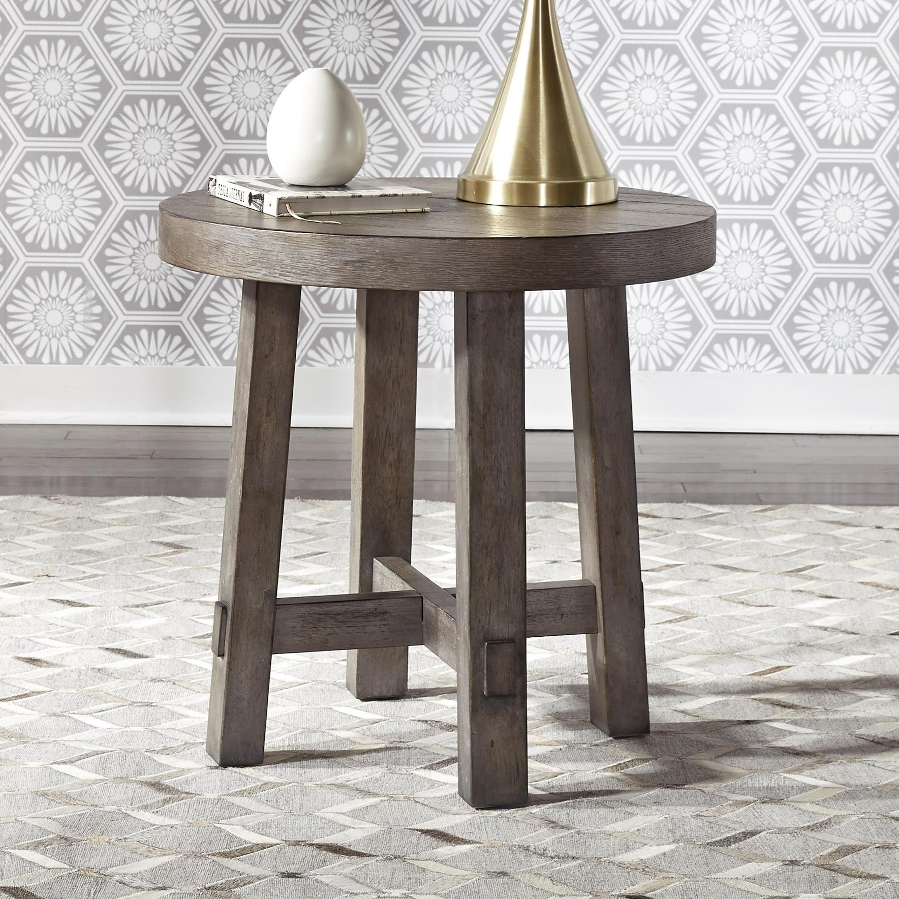 Modern Farmhouse Splay Leg Round End Table by Libby at Walker's Furniture