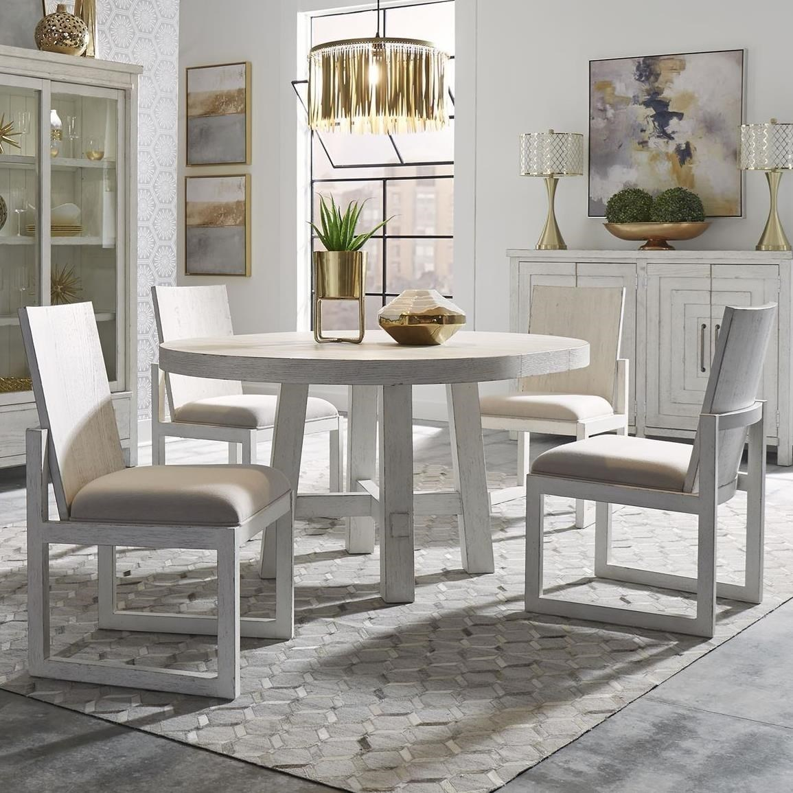 Modern Farmhouse 5-Piece Round Table and Chair Set by Libby at Walker's Furniture