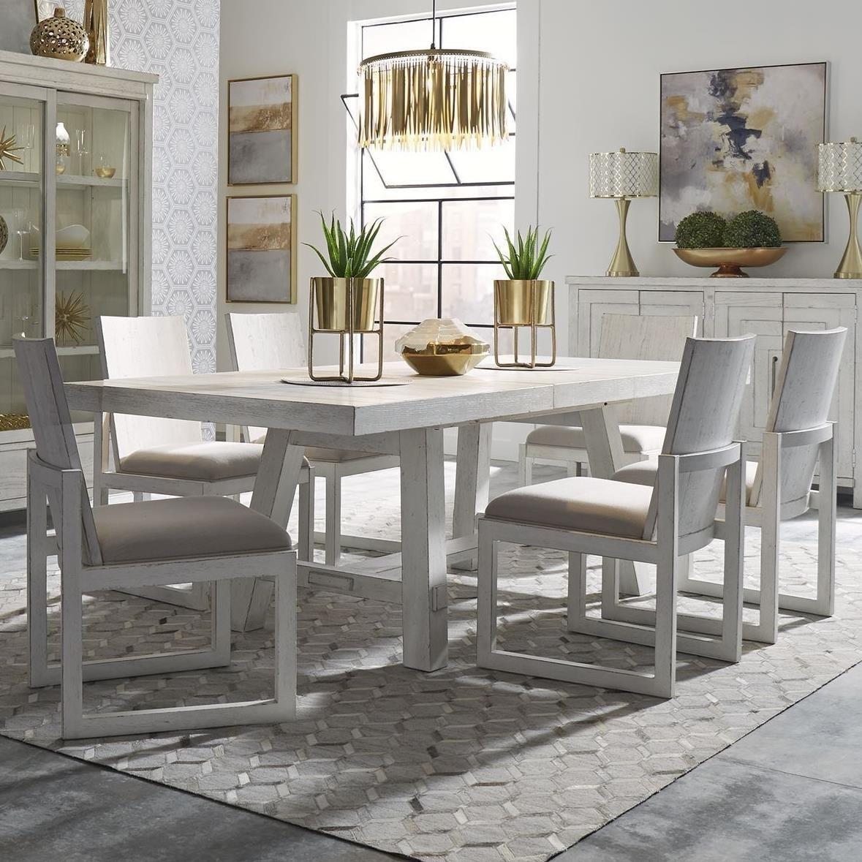 Modern Farmhouse 9 Piece Trestle Table and Chair Set