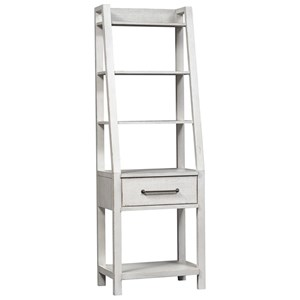 Contemporary Leaning Bookcase with 1 Drawer