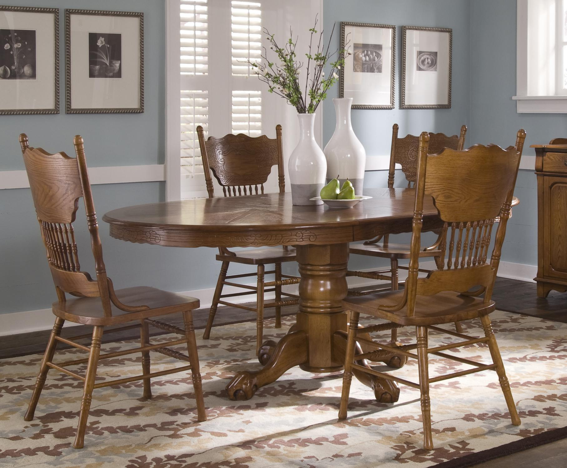 Liberty Furniture Nostalgia  5 Piece Pedestal Table Set - Item Number: 10-CD-SET17
