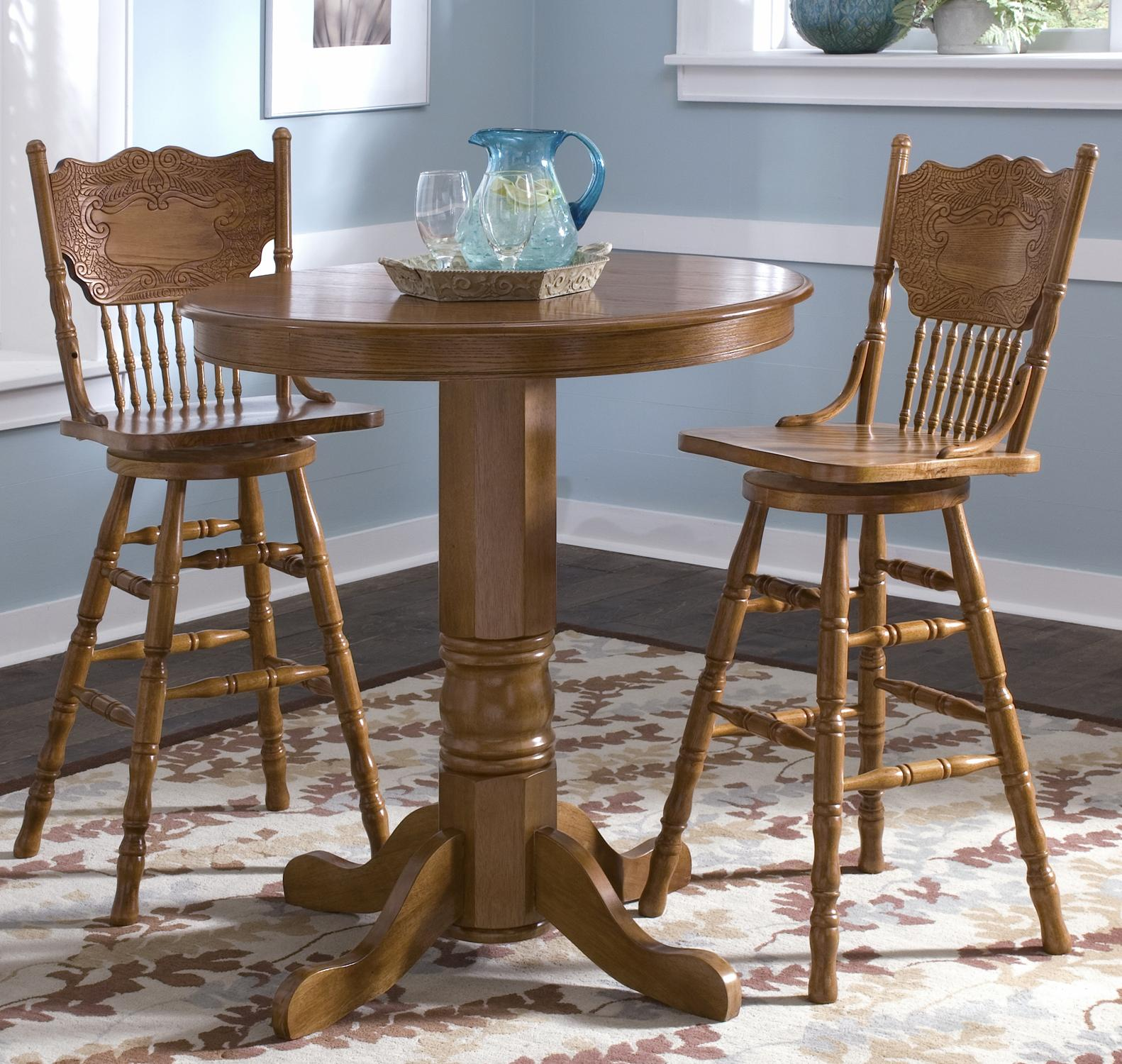 Liberty Furniture Nostalgia Round Pub Table with 2 Press Back Barstools - Item Number 10 & Liberty Furniture Nostalgia Round Pub Table with 2 Press Back ...