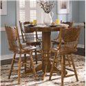 Liberty Furniture Nostalgia  Round Pub Table with 4 Press Back Barstools - Item Number: 10-PUB42+PUB42B+4xB51730