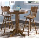Vendor 5349 Nostalgia  Round Oak Pub Table - Shown with 2 Bar Stools
