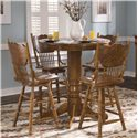 Vendor 5349 Nostalgia  Round Oak Pub Table - Shown with 4 Bar Stools
