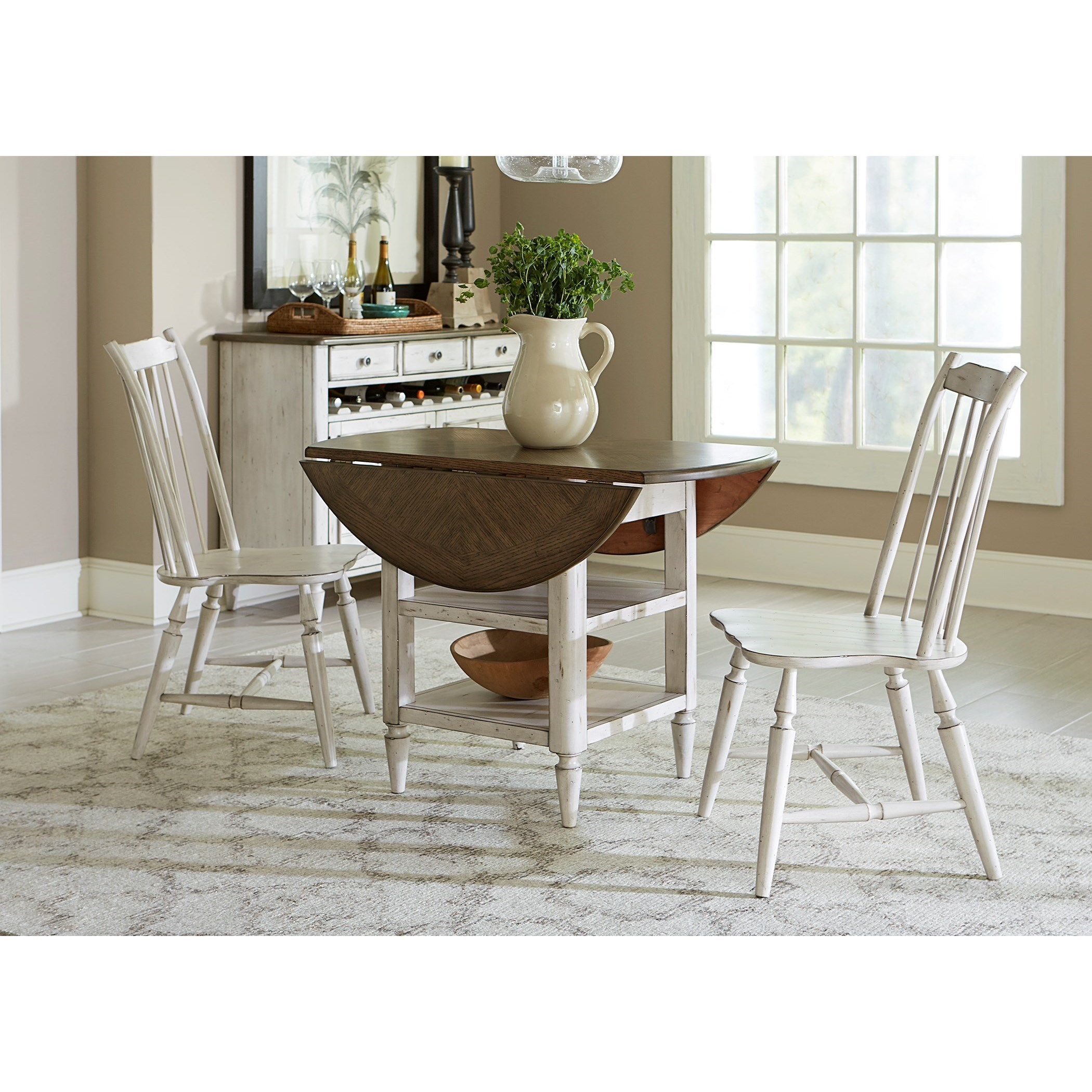 Liberty Furniture Oak Hill Dining 3 Piece Drop Leaf Table Set - Item Number: 517-CD-3DLS