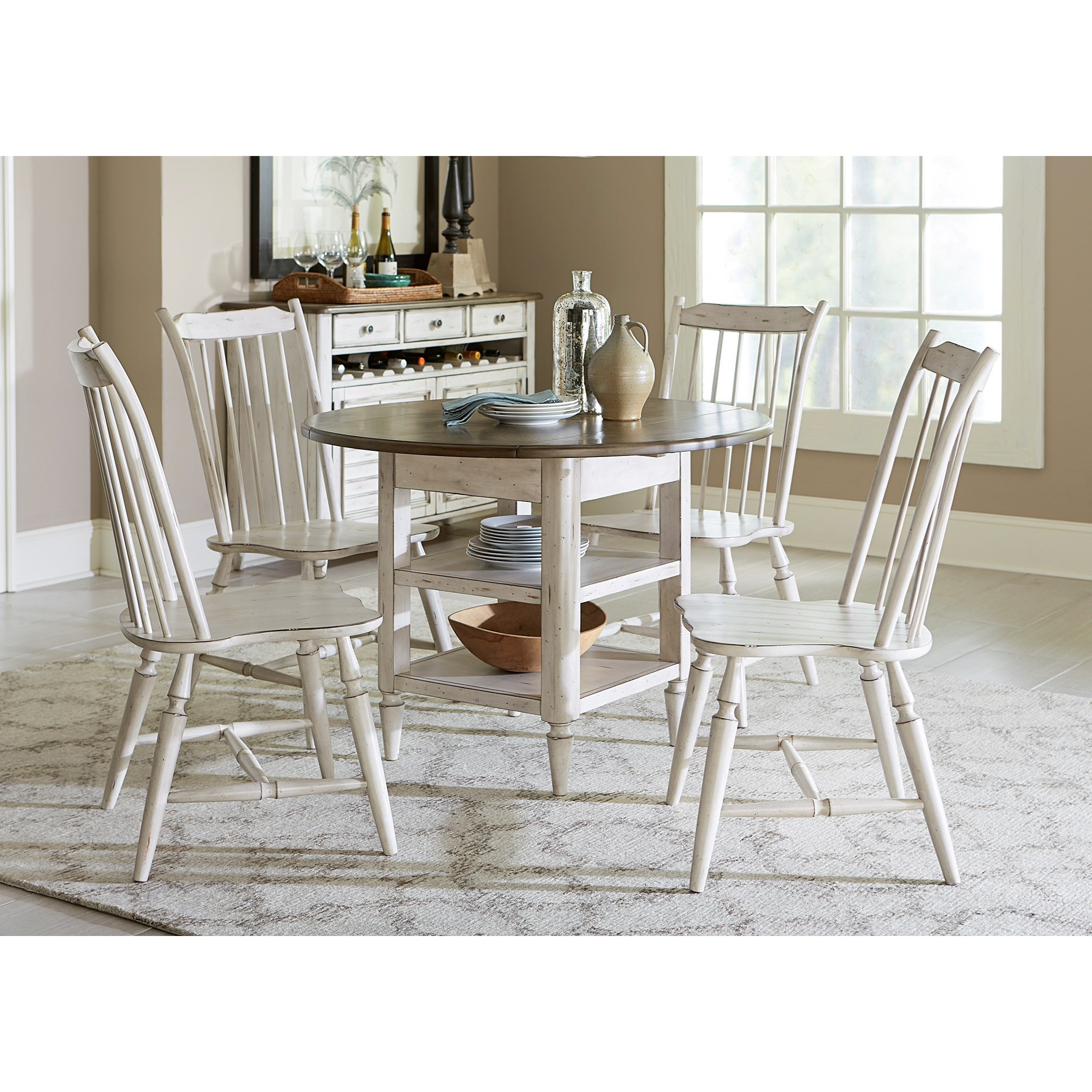 Vendor 5349 Oak Hill Dining 5 Piece Drop Leaf Table Set - Item Number: 517-CD-5DLS