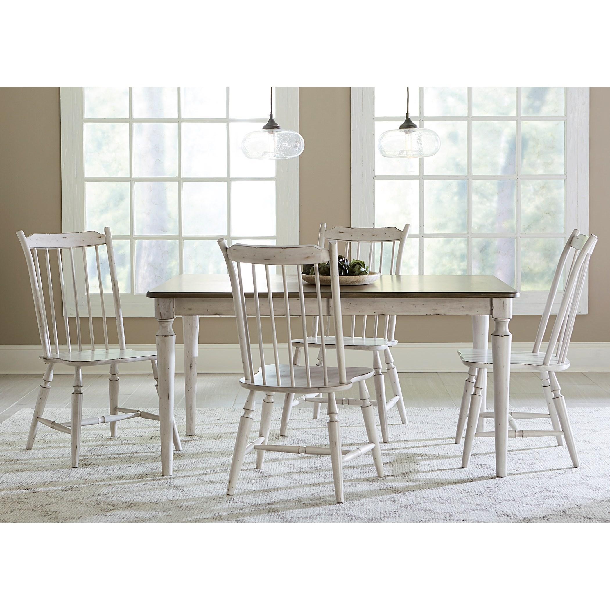 Vendor 5349 Oak Hill Dining 5 Piece Rectangular Table Set - Item Number: 517-CD-5RLS
