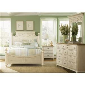 Vendor 5349 Ocean Isle  Queen Poster Bed, Dresser & Mirror, N/S
