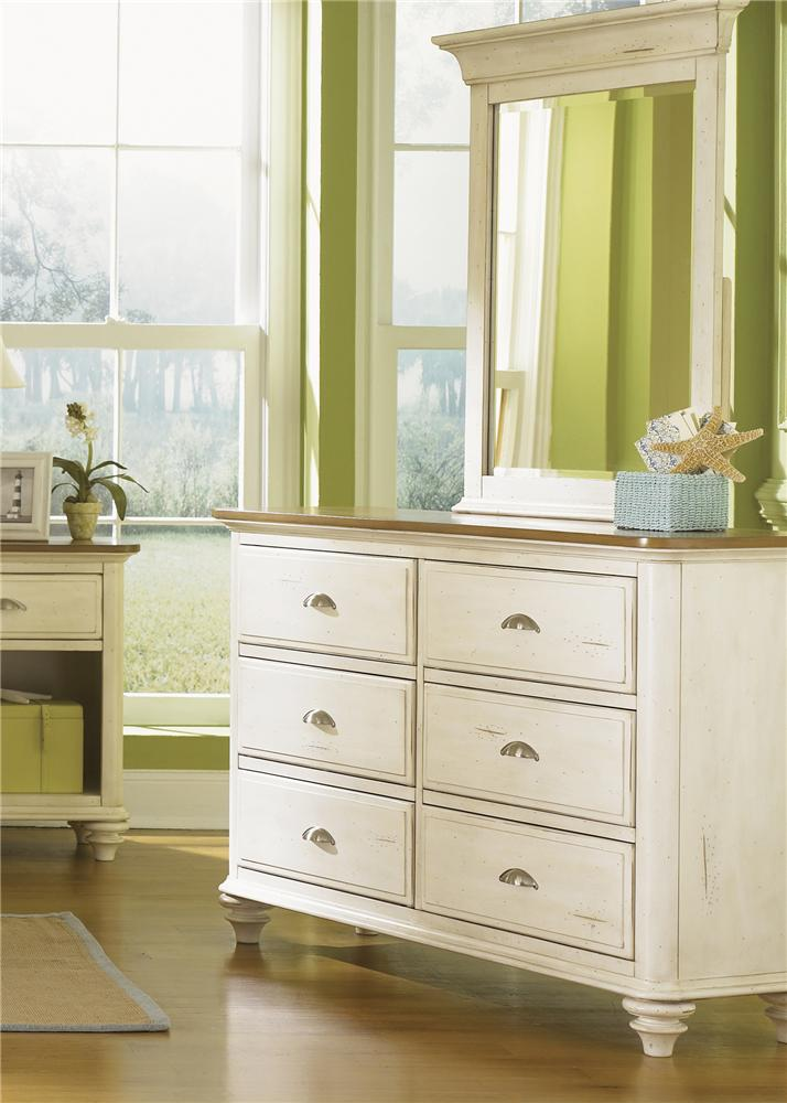 Liberty Furniture Ocean Isle  Youth Dresser & Mirror Combo - Item Number: 303-BR30+50