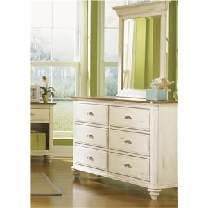 Liberty Furniture Ocean Isle  Youth Dresser & Mirror Combo